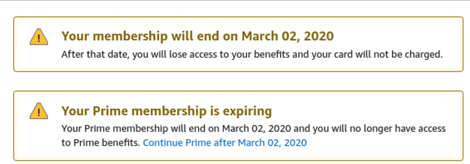 Screenshot of two stacked Amazon alerts about a Prime Membership expiring.