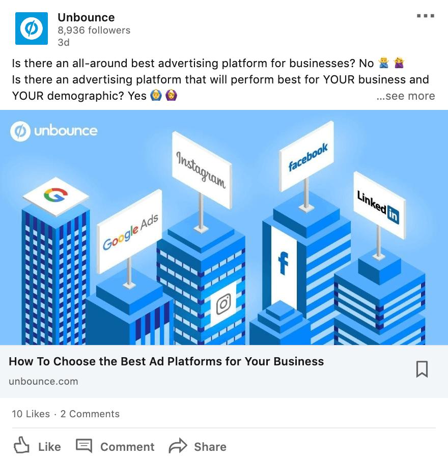 Unbounce LinkedIn post