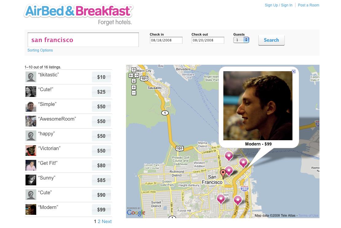 Airbnb MVP uit 2008, toen nog AirBed & Breakfast genaamd