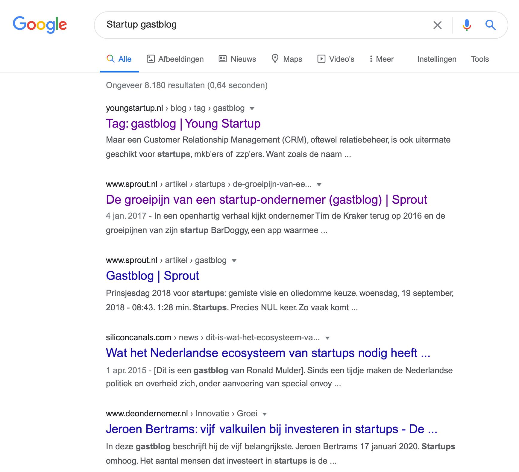 Startup gastblog zoekresultaten op Google