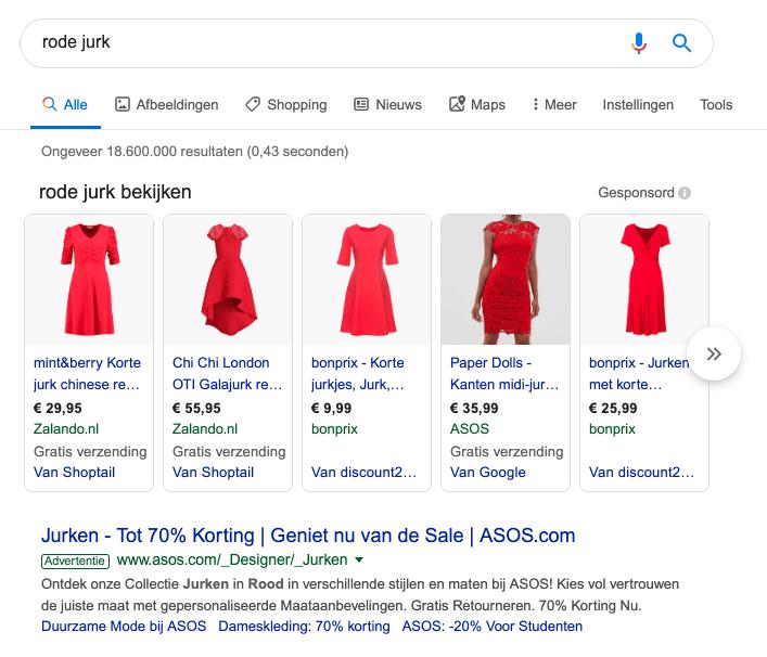 Google zoekresultaten voor de zoekterm rode jurk