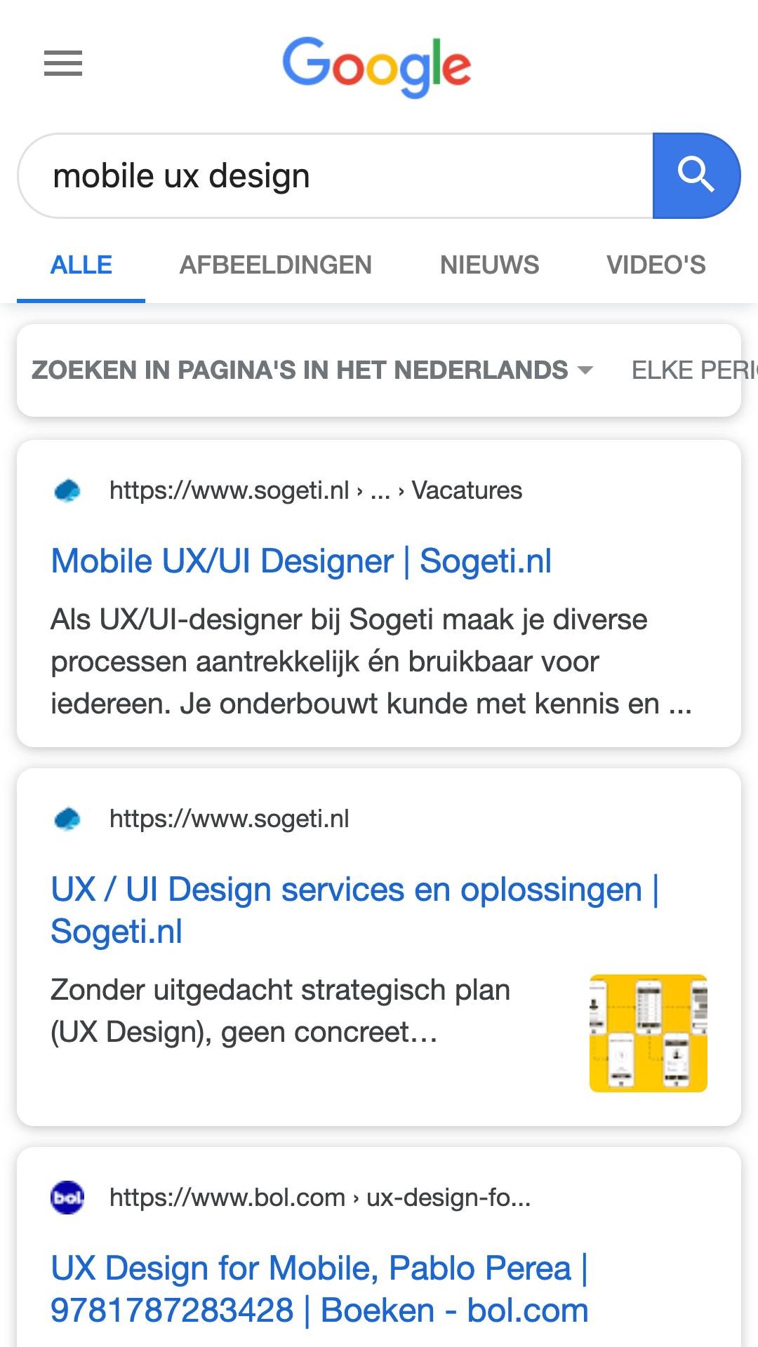 Google ronde hoeken UI design