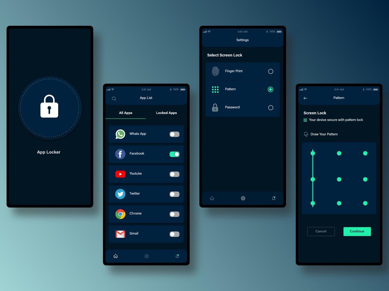 Dark theme app design