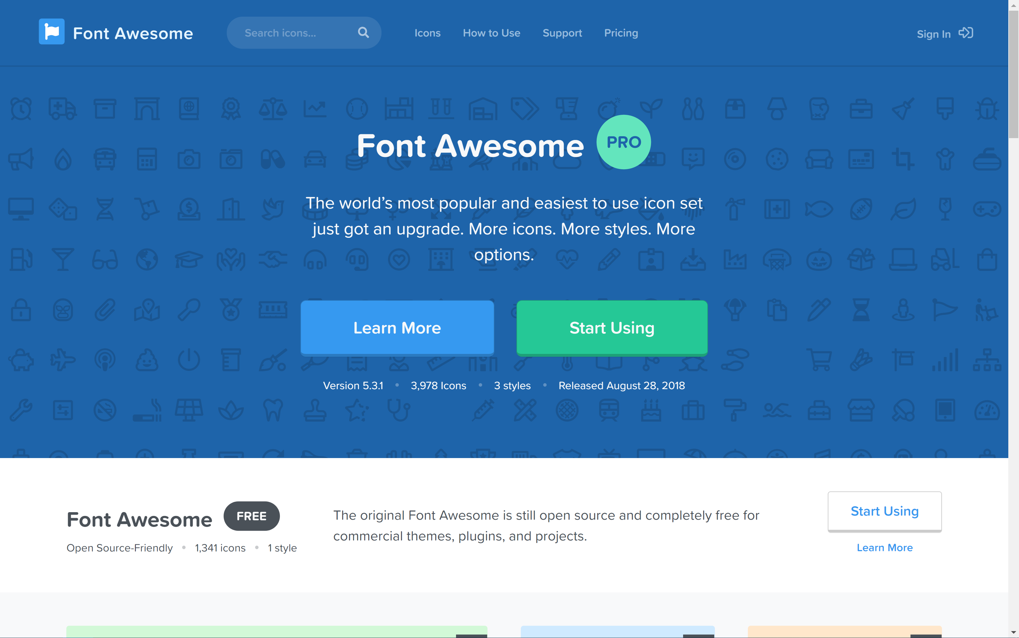 Font Awesome 5 Home Page