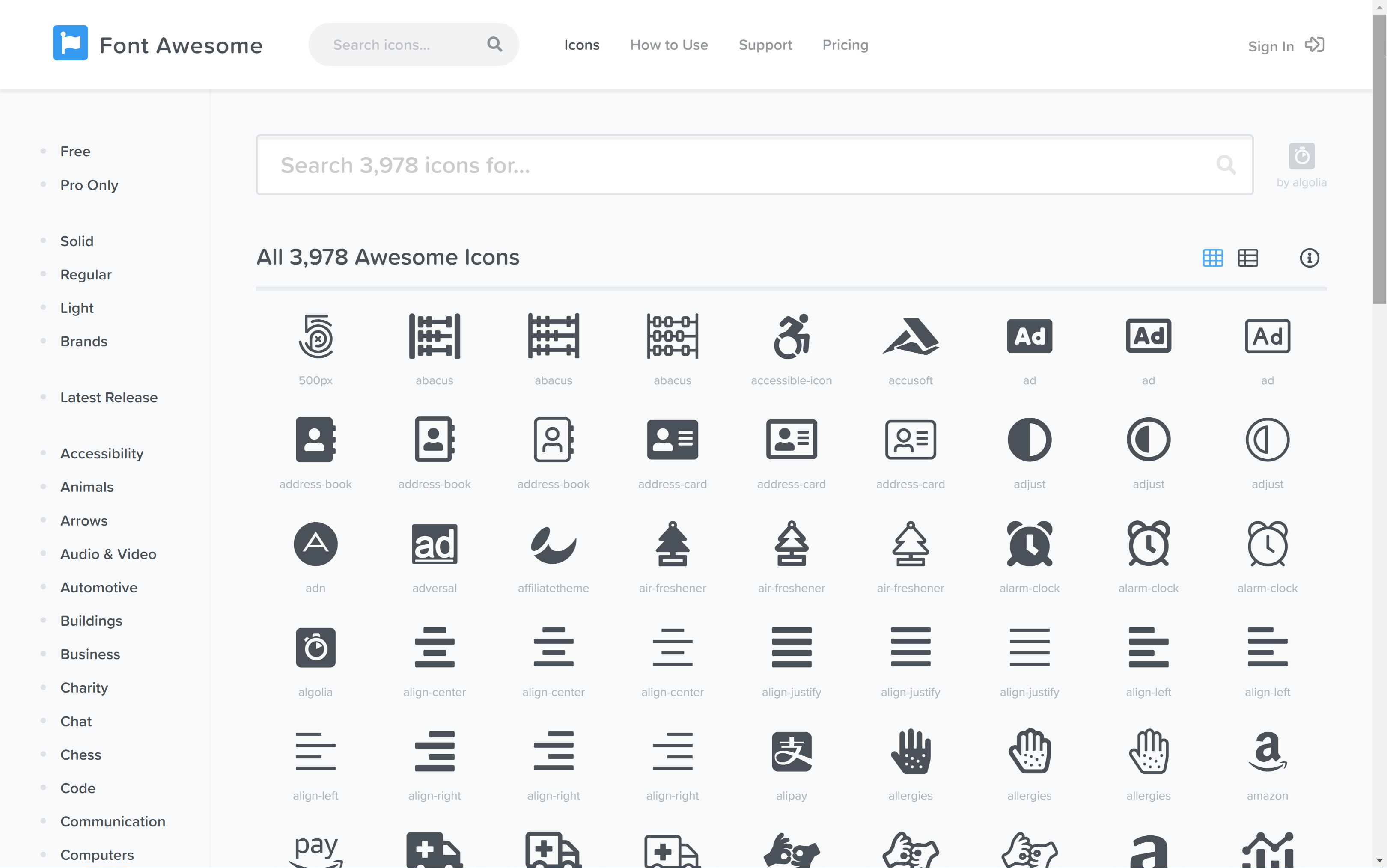 Font Awesome website with it's icons