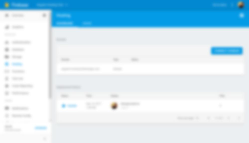 Firebase Hosting Dashboard