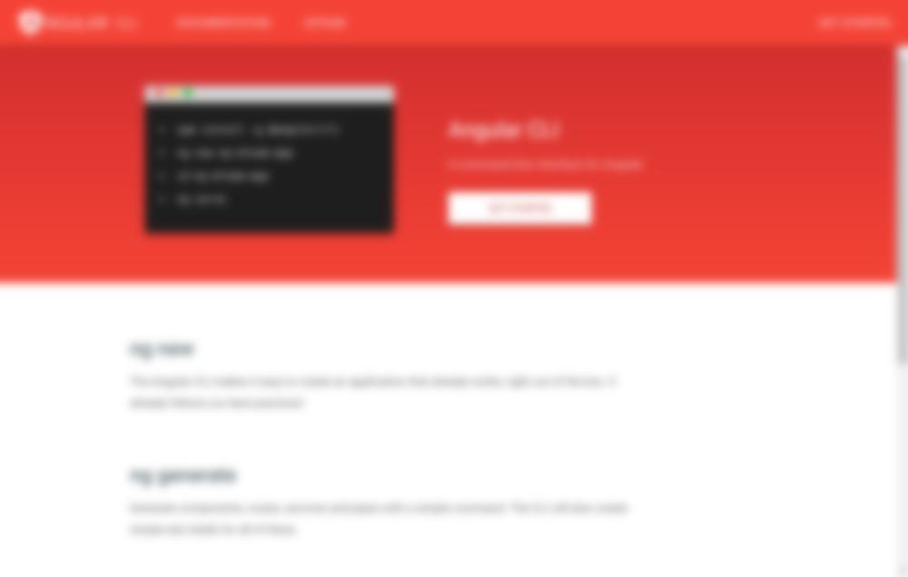 Angular CLI Home Page