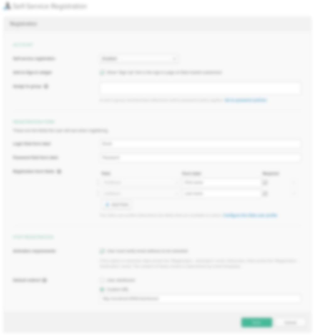 okta registration settings