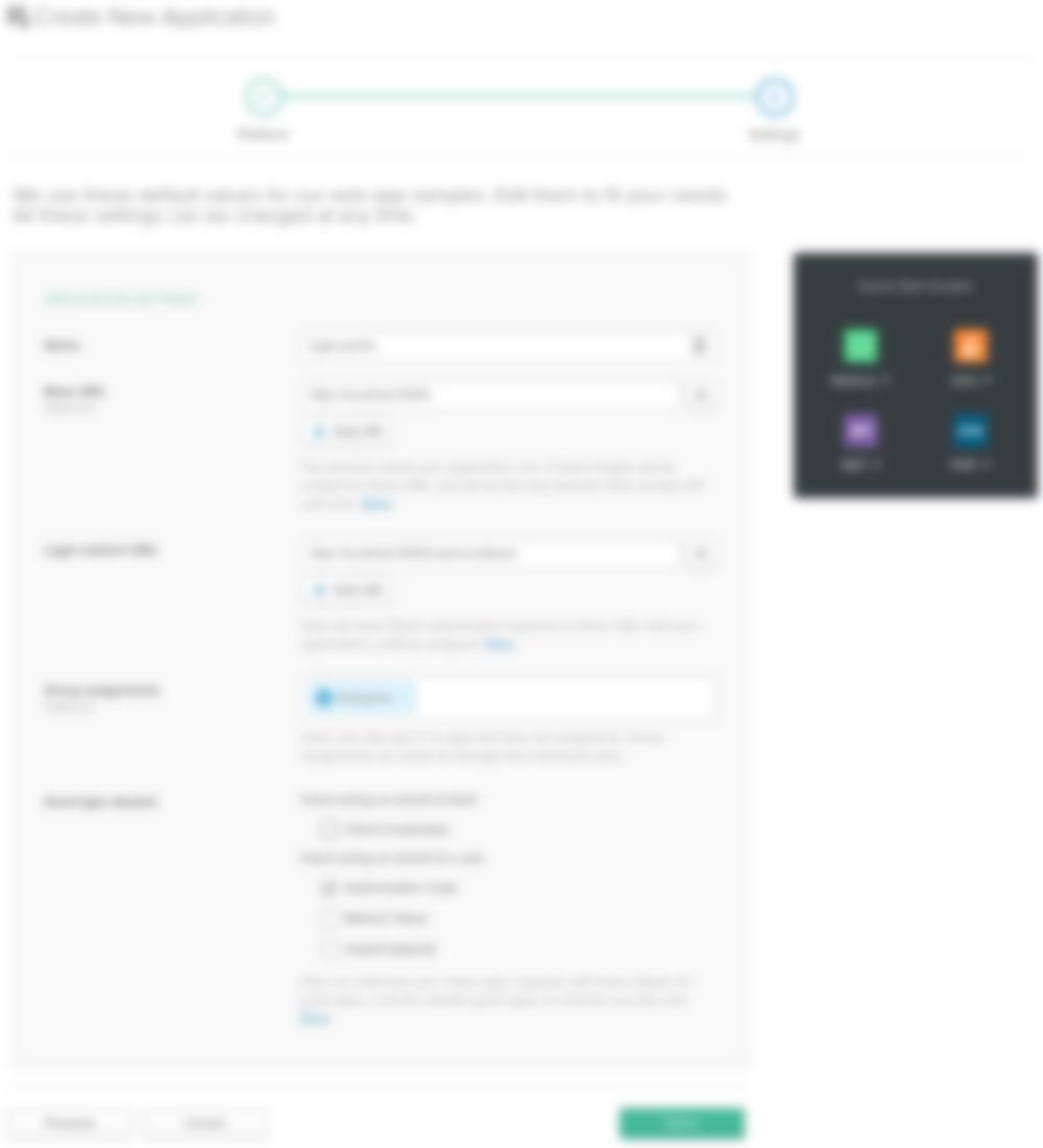 okta create app settings