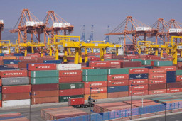 South Korea port with containers