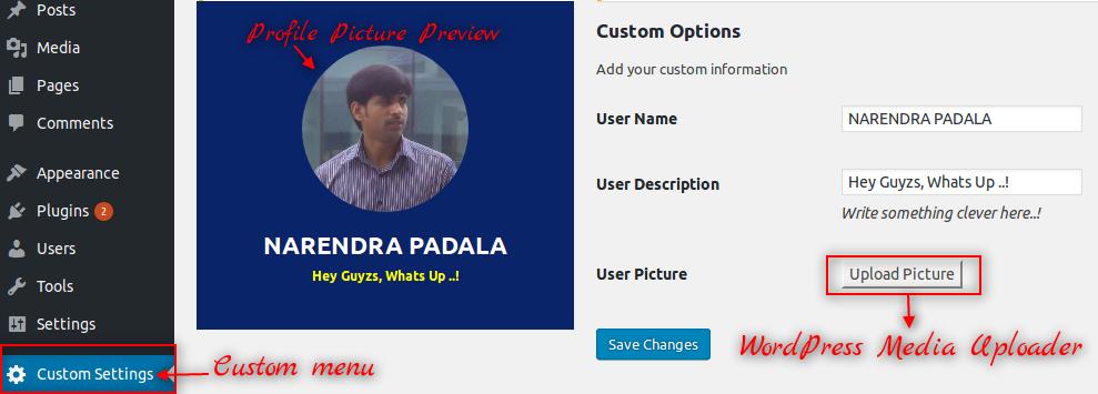 Custom user profile with Settings API and media uploader