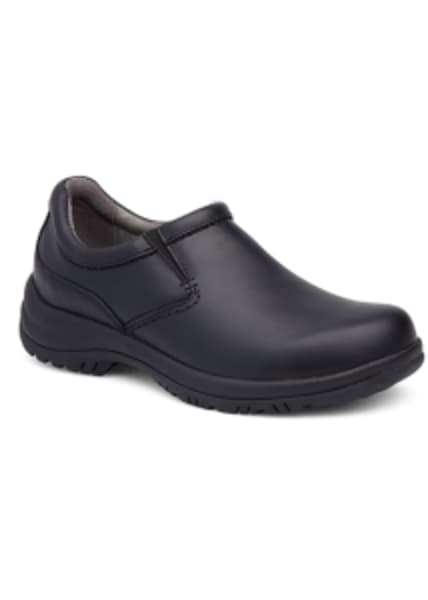 Dansko Men's Wynn Black Smooth Leather Nursing Clogs (98313)