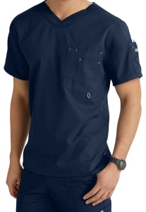 Grey's Anatomy Men's 3 Pocket High V-Neck Scrub Top