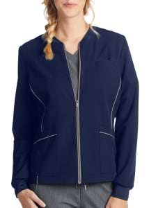 White Cross V. Tess Zip Front Scrub Jacket
