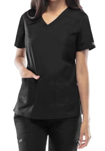 V-Neck Top with Badge Loop
