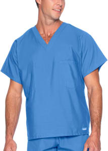 Landau Essentials Unisex V-Neck with Chest Pocket Scrub Top