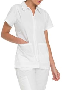 Nursing Student Zip Front Pleated Shoulder Top