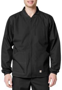 Rib Knit Collar Zip Front Jacket