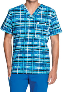 Code Happy Men's Tropical Plaid Scrub Top With Certainty