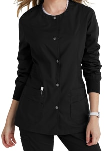 Snap Front Round Neck Jacket