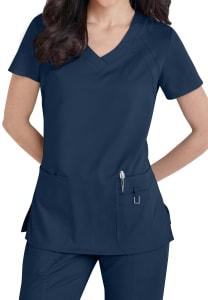 Grey's Anatomy 3 Pocket Knit Panel V-Neck Scrub Top