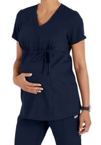 Grey's Anatomy Maternity Mock Wrap Scrub Top