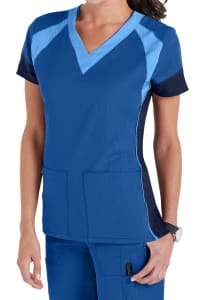 WonderWink Four-Stretch Color Block V-Neck Scrub Top