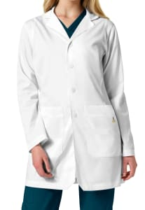Mitered Collar Lab Coat with Inset Shoulders