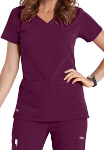 Grey's Anatomy Signature 3 Pocket Wrap Detail Scrub Top