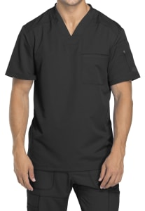 Chest Pocket V-Neck Top with Badge Loop