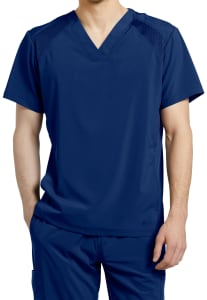 White Cross Fit Men's Mesh V-Neck Scrub Top