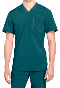 Essentials Mens Quick-Dry Stretch Scrub Top X-Small Surgical Green