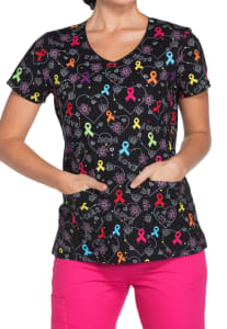 Hopeful Hearts Awareness Ribbon Print Top
