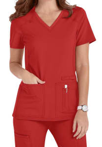 Cherokee Iflex V-Neck Knit Panel Scrub Top