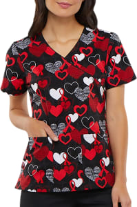 Heart Smart Mock Wrap Print Top