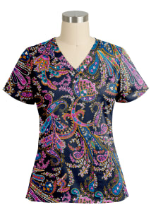 Romantic Paisley Navy V-Neck Print Top