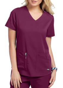 Grey's Anatomy Spandex Stretch Emma 4 Pocket V-Neck Scrubs Top