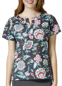 Stitched Floral Pewter V-Neck Print Top