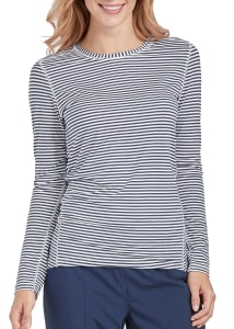 Med Couture Long Sleeve Striped Underscrub Tee