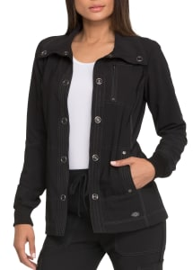 Solid Tonal Twist Snap Front Jacket