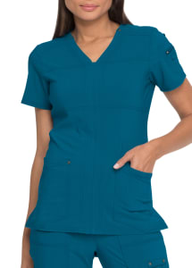 Solid Tonal Twist V-Neck Top with Stitching Detail