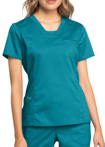 Cherokee Workwear Revolution V-Neck Scrub Top With Knit Contrast