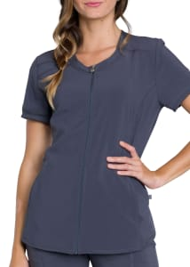 Infinity By Cherokee Zip Front V-Neck Scrub Top