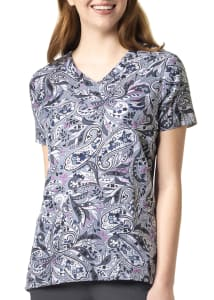 Tossed Paisley Grey V-Neck Print Top