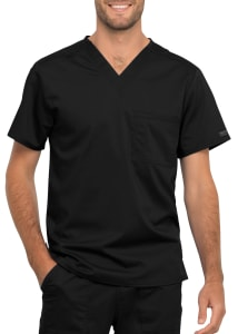 Check Pocket V-Neck Top