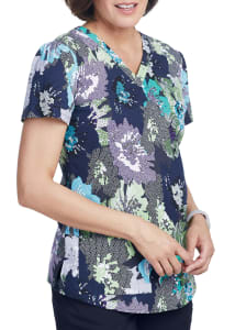 Mosaic Floral V-Neck Print Top