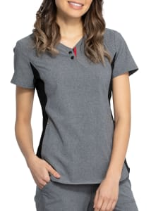 Katie Duke By Iflex V-Neck Snap Detail Scrub Top