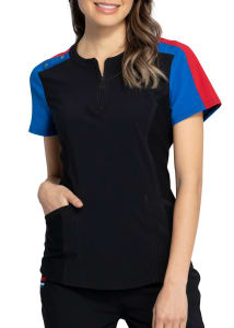 Katie Duke Zip Front Contrast Top