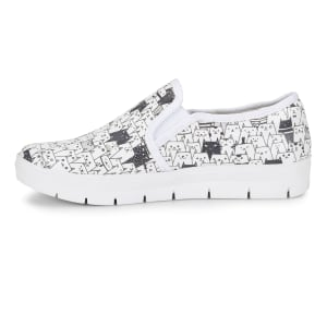 Adela Black & White Cats Print Slip On Shoes