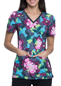 Electric Blooms V-Neck Print Top